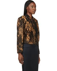 3.1 Phillip Lim - Bronze and Black Jacquard Cropped Bomber - Lyst