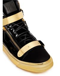 Giuseppe Zanotti - Black 'coby London' Leather Velvet Combo High-top Sneakers for Men - Lyst
