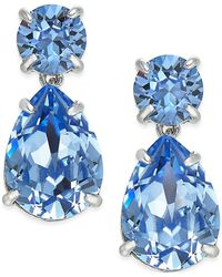 kate spade new york - Silver-tone Blue Crystal Drop Earrings - Lyst