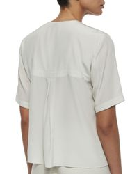 Shamask - White Silk Button-front Blouse - Lyst
