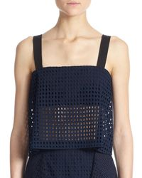 3.1 Phillip Lim | Blue Bandeau-insert Sheer Cotton Eyelet Cropped Top | Lyst