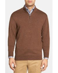 Peter Millar - Brown Leather Trim Quarter Zip Pullover Sweater for Men - Lyst