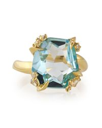 Alexis Bittar Fine | Metallic Sandy Beach 18k Gold Blue Topaz Ring with Diamonds | Lyst
