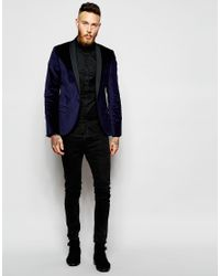 Noose And Monkey - Blue Velvet Blazer In Super Skinny Fit for Men - Lyst