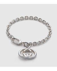 Gucci - Metallic Bracelet With Interlocking G Motif Charm - Lyst