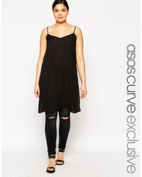 ASOS | Black Curve Longline Cami With Side Splits | Lyst