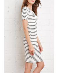 Forever 21 - Natural Stripe Ribbed Knit Dress - Lyst
