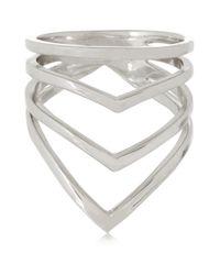 Arme De L'Amour - Metallic Chevron Silver Ring - Lyst