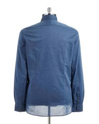 John Varvatos - Blue Textured Sportshirt for Men - Lyst