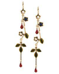 Betsey Johnson | Metallic Goldtone Flower Vine Linear Earrings | Lyst