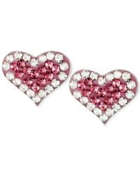Betsey Johnson | Metallic Silver-tone Heart Pink Crystal Stud Earrings | Lyst