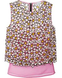 RED Valentino - Multicolor Daisy Embroidered Sleeveless Blouse - Lyst