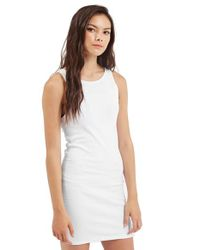 TOPSHOP | White Ribbed Tunic Dress | Lyst