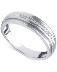 Beautiful Beginnings | Metallic Men's Diamond Accent Wedding Band In 14k White Gold for Men | Lyst