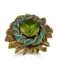 Oscar de la Renta - Green Sunburst Goldplated Resin and Crystal Ring - Lyst