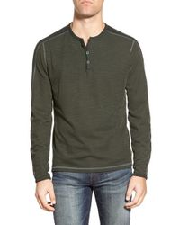 Agave | Green 'oscar' Slub Long Sleeve Henley for Men | Lyst