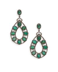 Bavna | Green Emerald, Champagne Diamond & Sterling Silver Teardrop Earrings | Lyst