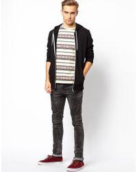 ASOS | White Stripe Tshirt with Aztec Pattern for Men | Lyst