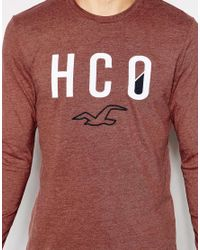 Hollister | Purple Long Sleeved T-shirt With 'hco' Print for Men | Lyst