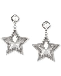 BCBGeneration | Metallic Silver-tone Crystal Star Drop Earrings | Lyst