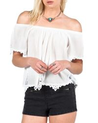Volcom - White 'sparks Fly' Off The Shoulder Top - Lyst