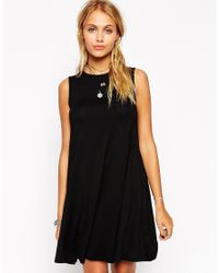 ASOS | Black Sleeveless Swing Dress | Lyst