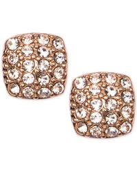 Givenchy | Pink Rose Gold-tone Crystal Pave Stud Earrings | Lyst