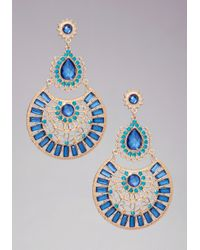 Bebe - Blue Multidrop Crystal Earrings - Lyst