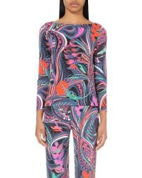 Emilio Pucci | Multicolor Abstract-print Jersey Top | Lyst