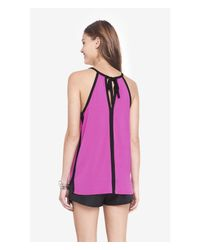 Express - Purple Contrast Trim High Neck Trapeze Cami - Lyst