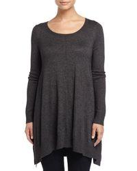 Joan Vass - Black Long-sleeve Scoop-neck Draped Sweater - Lyst