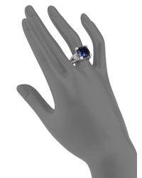 Judith Ripka - Metallic Diamond Faceted Cushion Sterling Silver Ring - Lyst