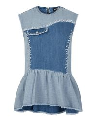 House of Holland - Blue Denim Top - Lyst