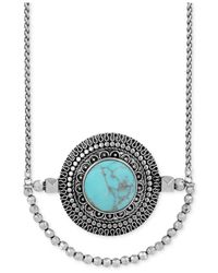 Lucky Brand | Blue Silver-tone Reconstituted Turquoise Pendant Necklace | Lyst