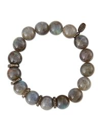 Sheryl Lowe | Gray 12mm Labradorite Beaded Bracelet With 10mm Diamond Rondelles | Lyst