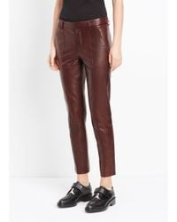 VINCE | Brown Leather Pintuck Trouser | Lyst