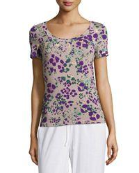 Cosabella - Purple Panther Short-Sleeve Pajama Top - Lyst