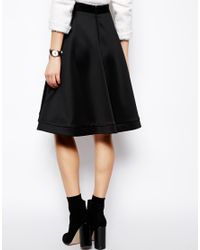 ASOS | Black Midi Skirt in Scuba with Zips | Lyst