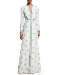 Vilshenko - Blue Long-sleeve Floral-print Gown - Lyst