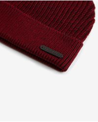 Ted Baker | Red Half Cardigan Stitch Beanie for Men | Lyst