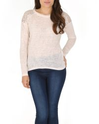 Izabel London Natural Embellished Knit Top