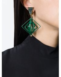 MSGM | Green Geometric Clip-on Earrings | Lyst