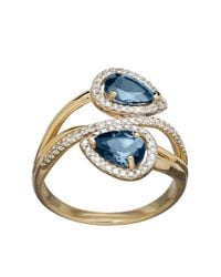 Lord & Taylor | 14k Yellow Gold Blue Topaz And Diamond Ring | Lyst