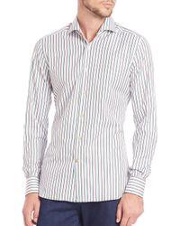 Kiton - Gray Shadow Stripe Cotton Sportshirt for Men - Lyst