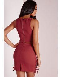 Missguided - Pink Lace Up Front Crop Top Rust - Lyst