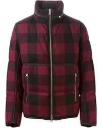 Moncler - Red Padded Plaid Jacket for Men - Lyst