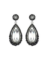 Mikey | Black Oval Design Multi Crystals Drop Earring | Lyst