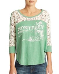 Free People - Green Racer Graphic Tee - Lyst