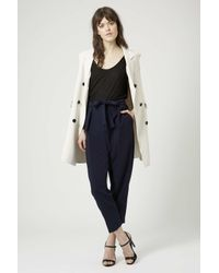 TOPSHOP | Blue Belted Crepe Peg Trousers | Lyst