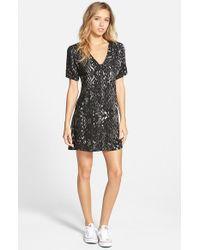 RVCA - Black 'flo' Print Shirtdress - Lyst